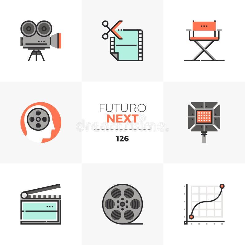 Icônes de Futuro de production cinématographique prochaines illustration libre de droits