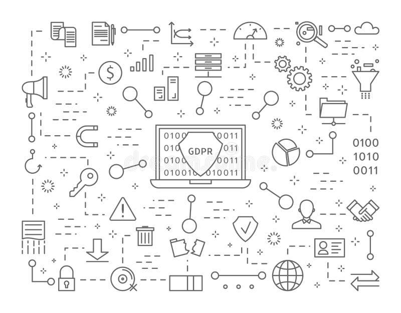 Icônes de GDPR réglées illustration libre de droits