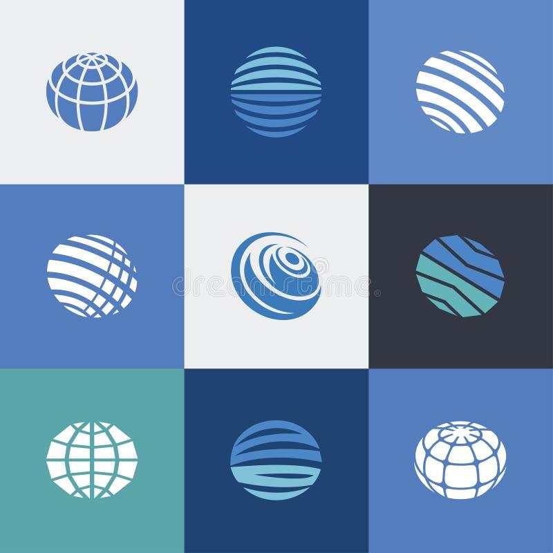Icônes de globe bleues images stock