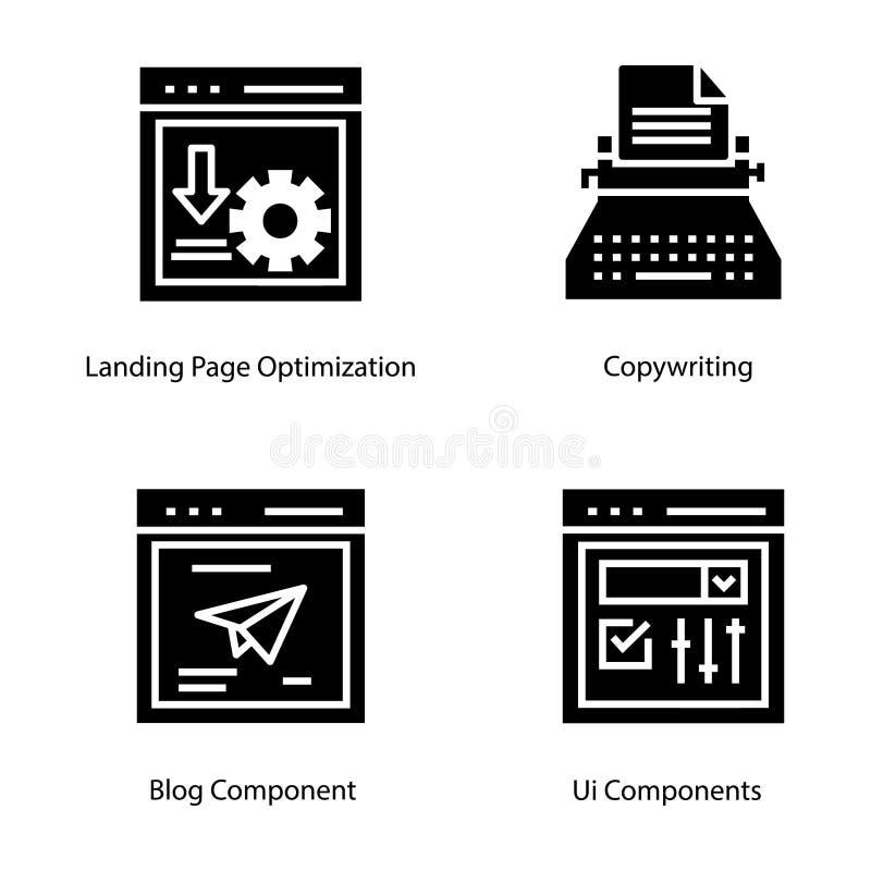Icônes de Glyph d'interface de page Web illustration libre de droits