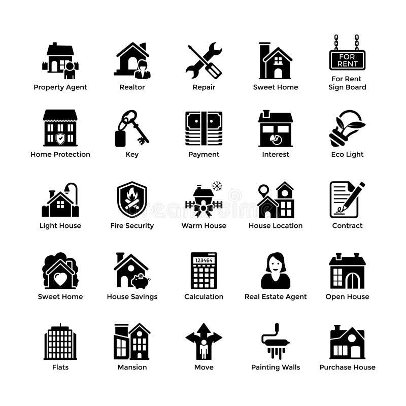 Icônes 4 de Glyph de Real Estate illustration stock
