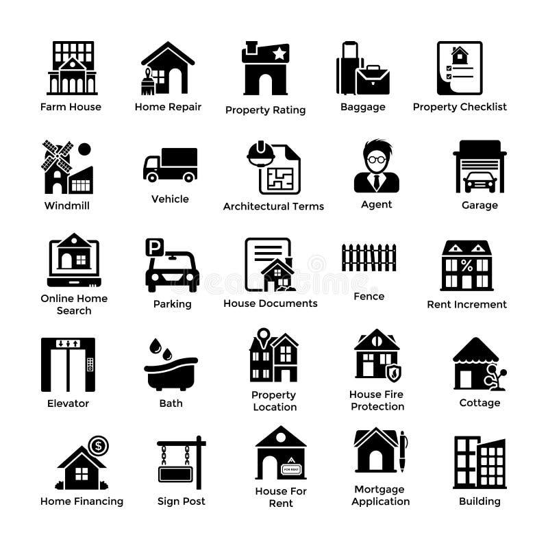 Icônes 2 de Glyph de Real Estate illustration libre de droits