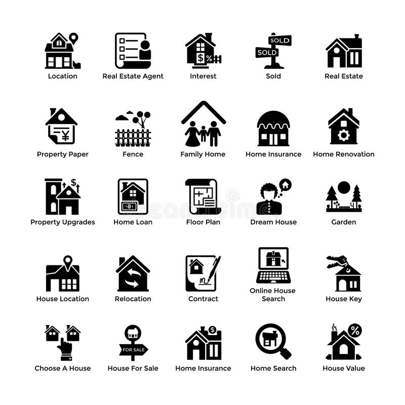 Icônes 8 de Glyph de Real Estate illustration stock