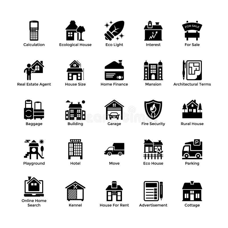 Icônes 6 de Glyph de Real Estate illustration stock