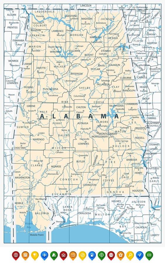Icônes de goupille de carte et d'emplacement d'état de l'Alabama illustration stock