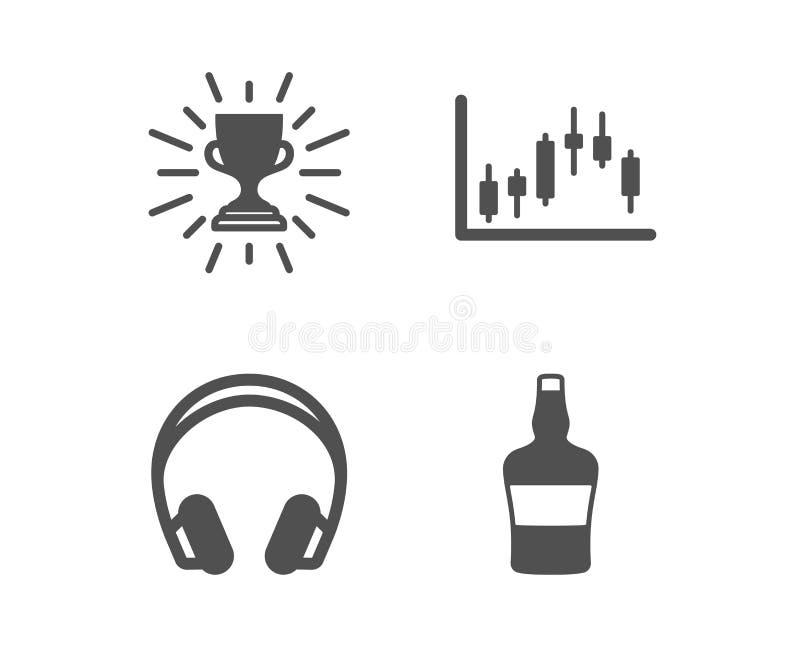 Icônes de graphique de trophée, d'écouteurs et de chandelier Signe ?cossais de bouteille Vecteur illustration de vecteur