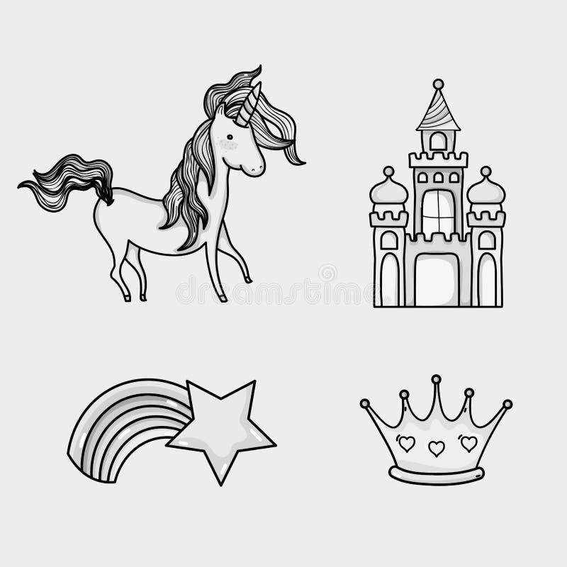 Icônes de griffonnage du monde d'imagination et de magie illustration stock