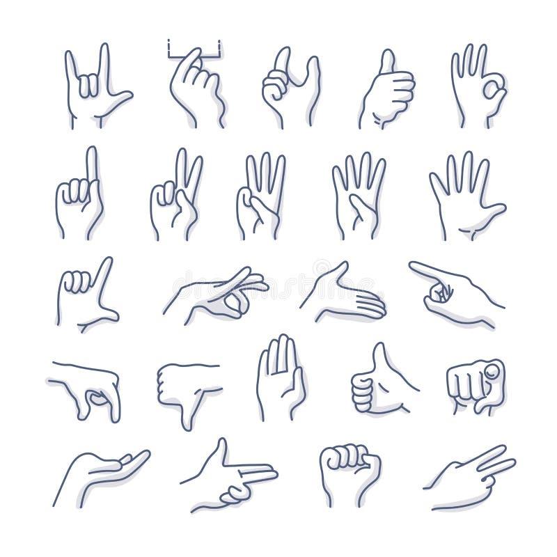 Icônes de griffonnage de gestes de mains illustration libre de droits