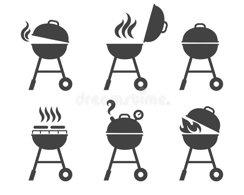 Icônes de gril de barbecue illustration stock