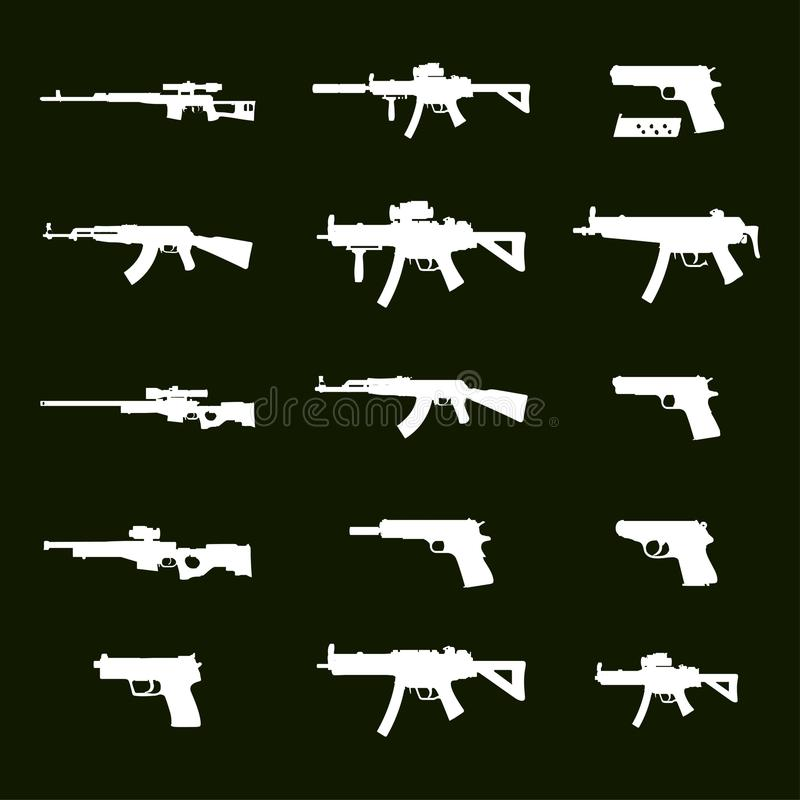 Icônes de guerre Armes blanches d'armée Ensemble d'armes de 15h du matin comprenant illustration stock