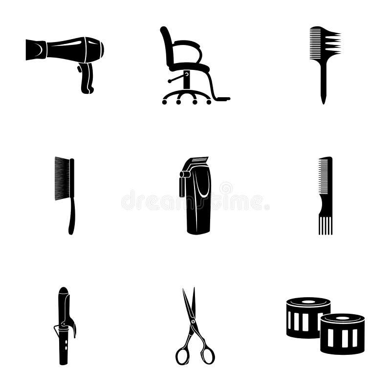 Icônes de Hairdress réglées, style simple illustration de vecteur