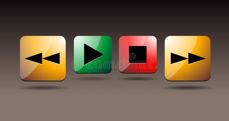 Icônes de jeu le bleu boutonne la version de vecteur de joueur illustration libre de droits