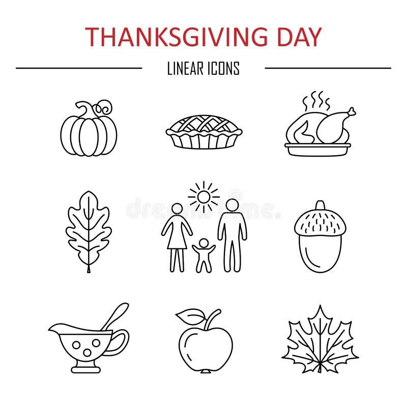 Icônes de jour de thanksgiving illustration stock