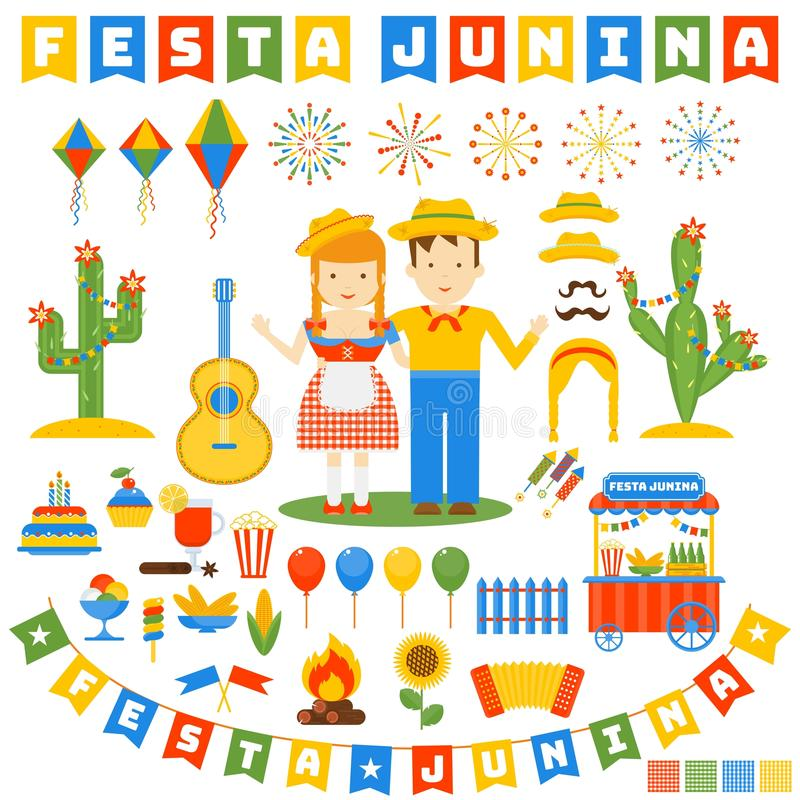 Icônes de junina de Festa réglées illustration stock