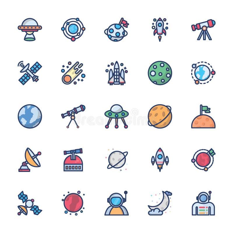 Icônes de l'espace dans le vecteur plat illustration de vecteur