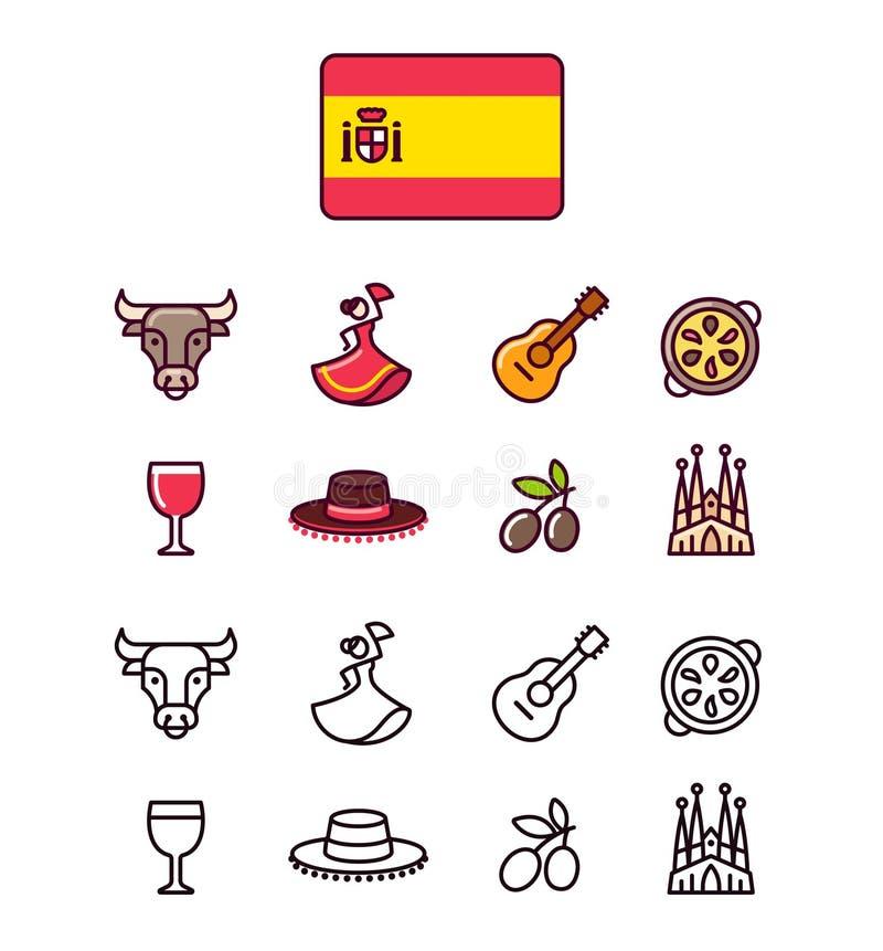 Icônes de l'Espagne réglées illustration libre de droits