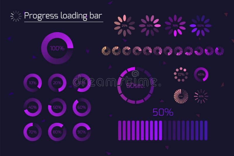 Icônes de la barre de chargement de progression futuriste Ensemble d'indicateurs Télécharger le processus, le téléchargement de l illustration stock