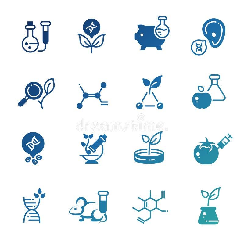 Icônes de la biotechnologie génétique de modification et de la recherche d'ADN illustration libre de droits