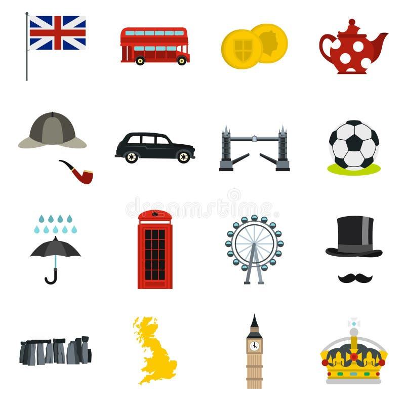 Icônes de la Grande-Bretagne réglées, style plat illustration libre de droits