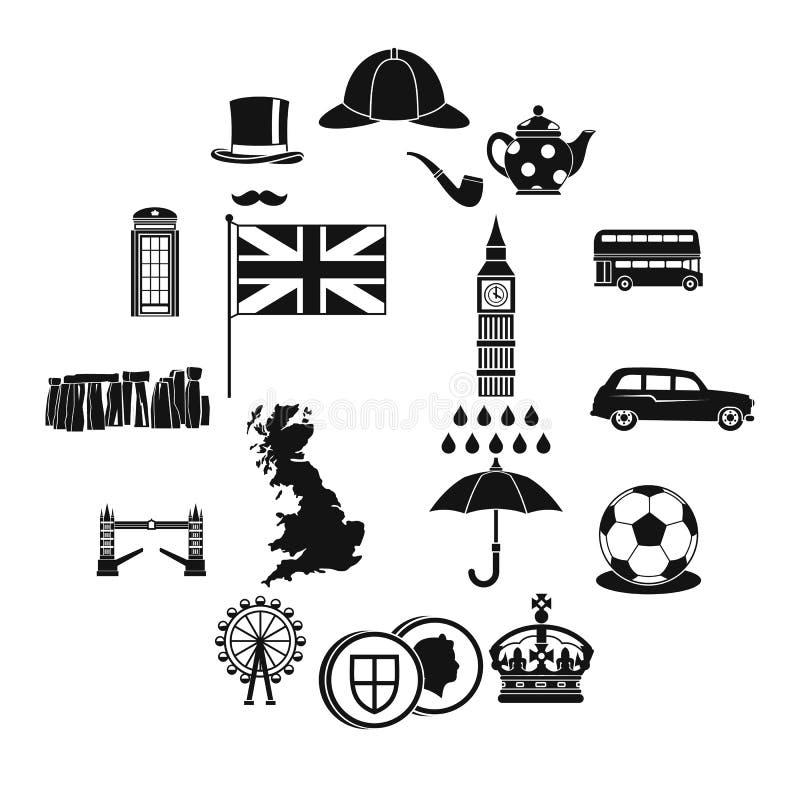 Icônes de la Grande-Bretagne réglées, style simple illustration stock