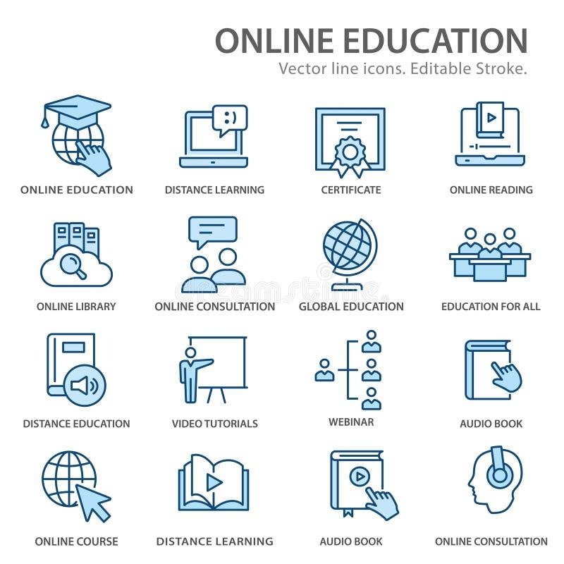 Icônes de la ligne de base de formation à distance en ligne Trucs modifiables illustration libre de droits