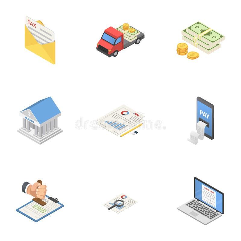 Icônes de la livraison d'argent liquide réglées, style isométrique illustration libre de droits