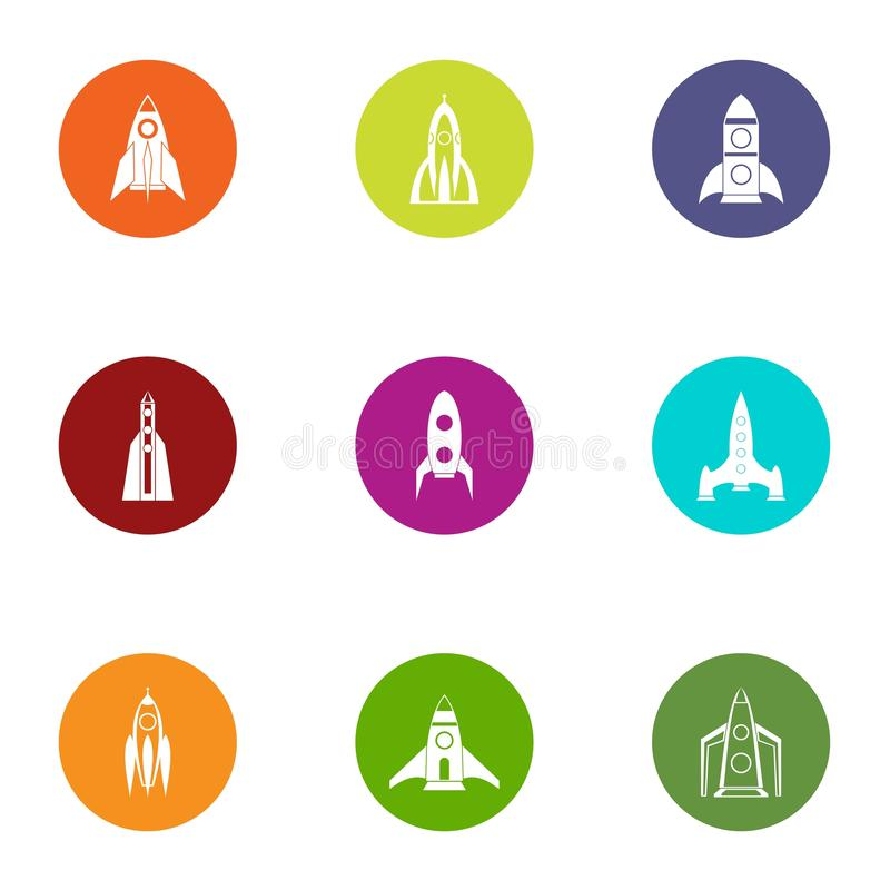 Icônes de lancement réglées, style plat illustration libre de droits