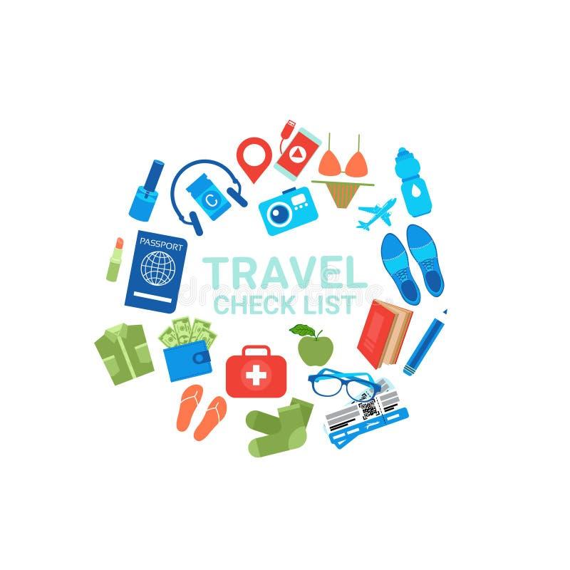 Icônes de liste de contrôle de voyage sur le concept blanc d'emballage de bagages de fond illustration stock