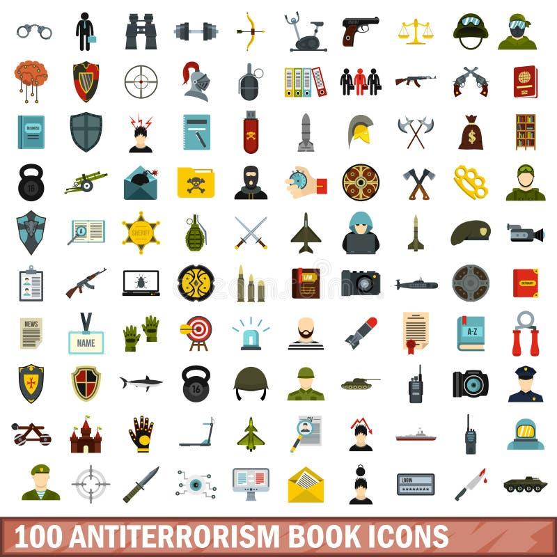 100 icônes de livre d'anti-terrorisme réglées, style plat illustration de vecteur