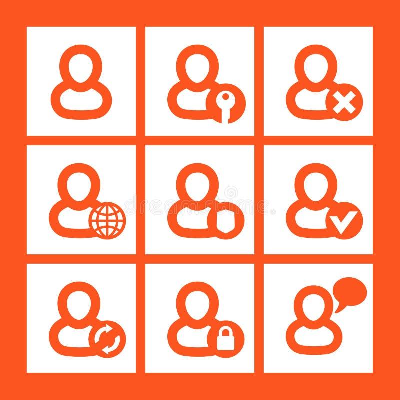 Icônes de login, compte, pictogrammes d'identifiez-vous illustration stock