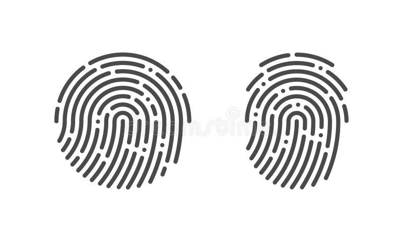 Icônes de logo d'empreinte digitale de vecteur d'empreinte digitale illustration de vecteur