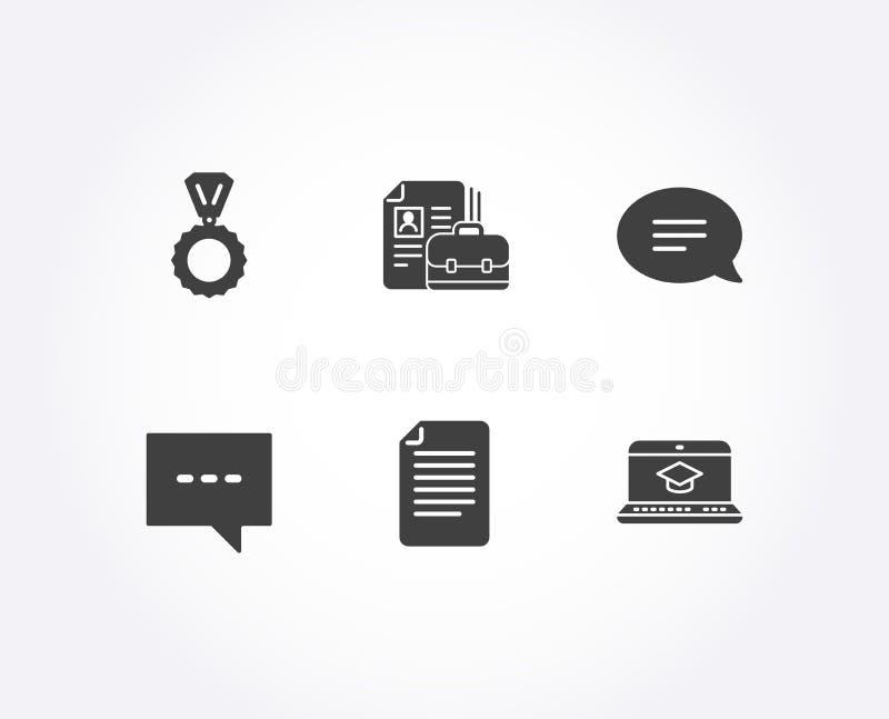 Icônes de médaille, de dossier et de causerie Signes d'éducation d'offre d'emploi, de blog et de site Web Gagnant, page de papier illustration de vecteur