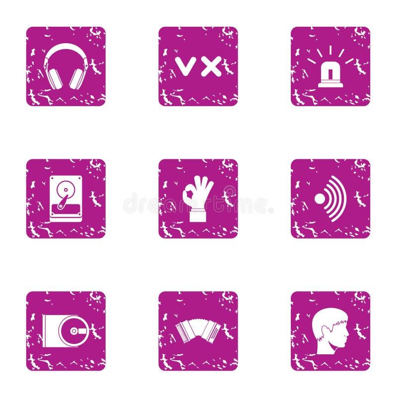 Icônes de mélomane réglées, style grunge illustration libre de droits
