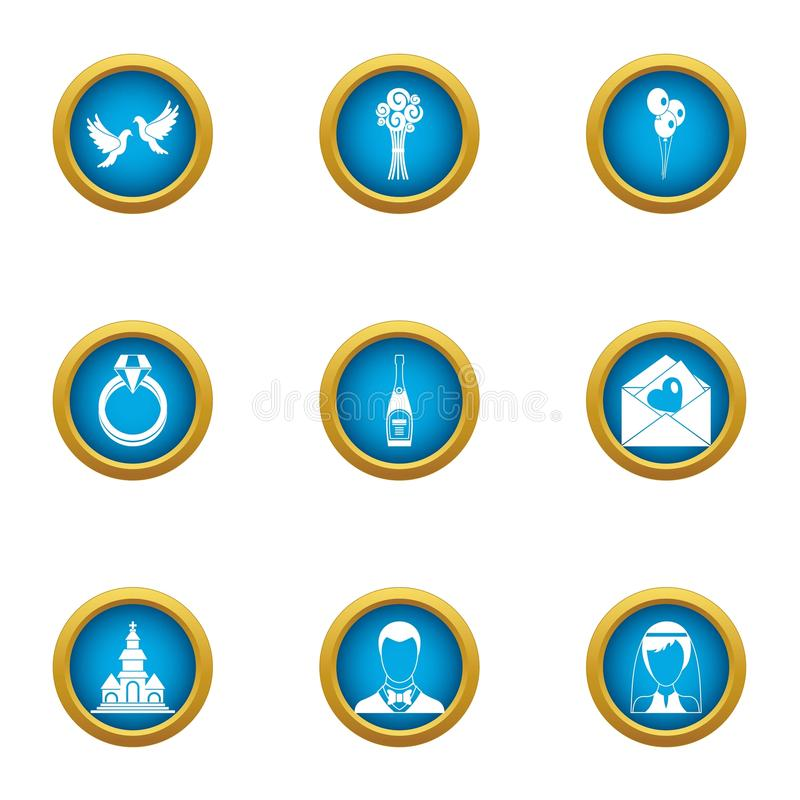 Icônes de ménages mariés réglées, style plat illustration de vecteur