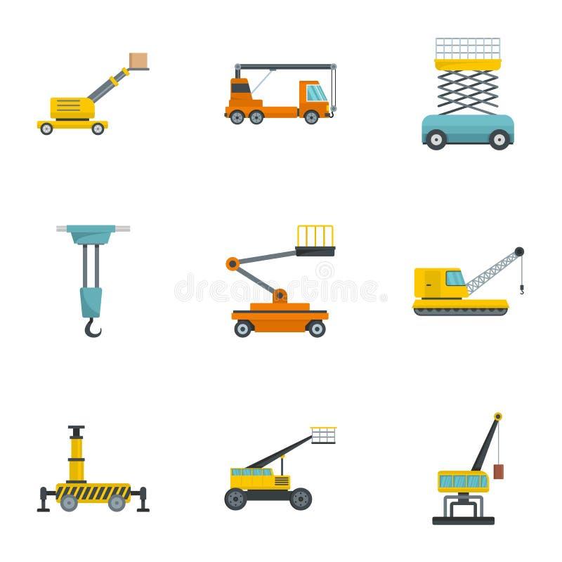 Icônes de machines de construction réglées, style de bande dessinée illustration de vecteur