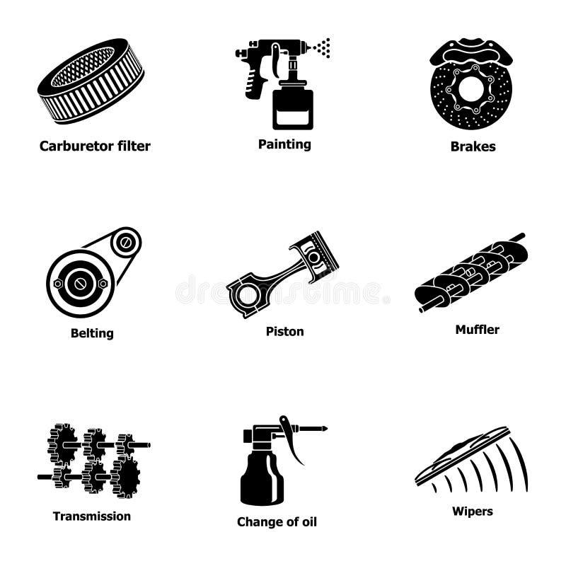 Icônes de machines de difficulté réglées, style simple illustration stock