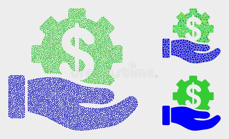 Icônes de main de service bancaire de vecteur de Pixelated illustration de vecteur
