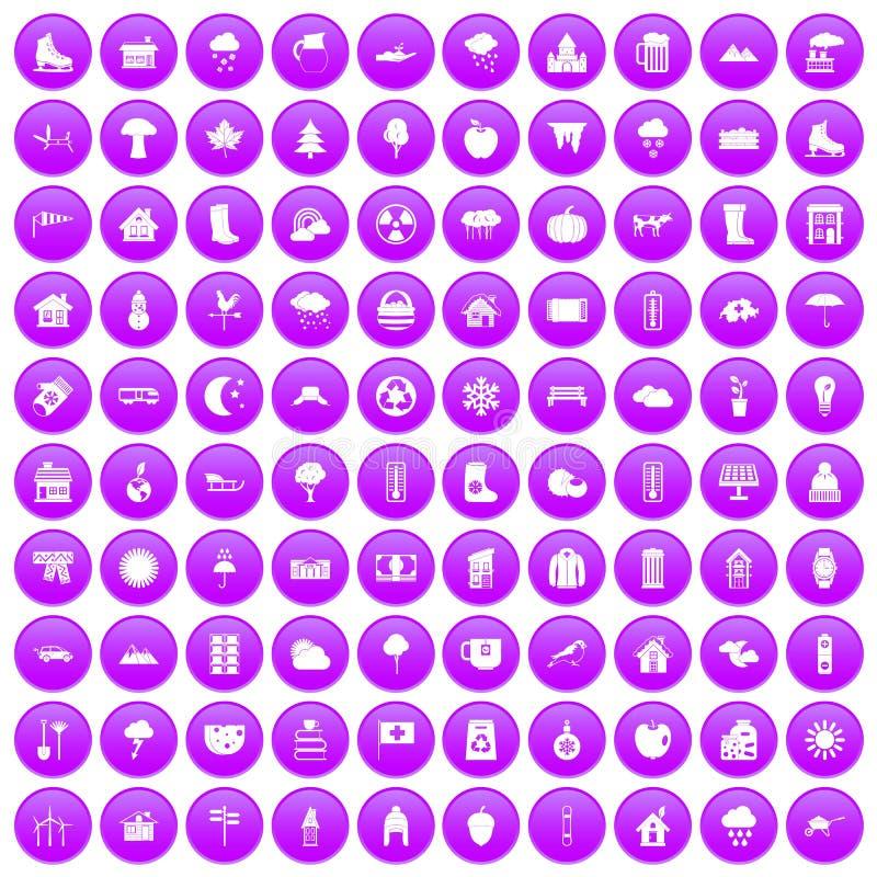 100 icônes de maison de campagne réglées pourpres illustration libre de droits