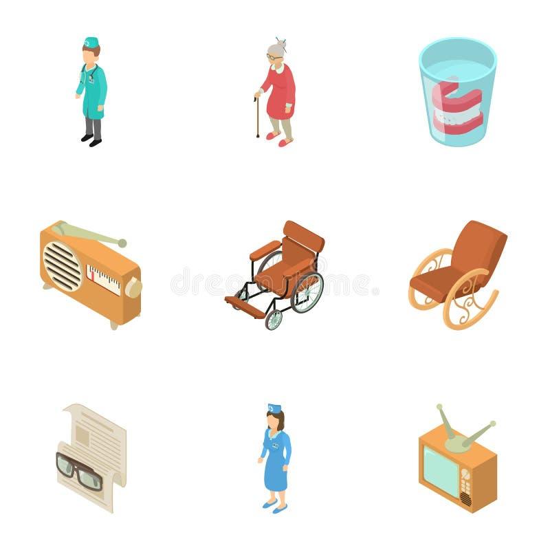 Icônes de maison de repos réglées, style isométrique illustration libre de droits