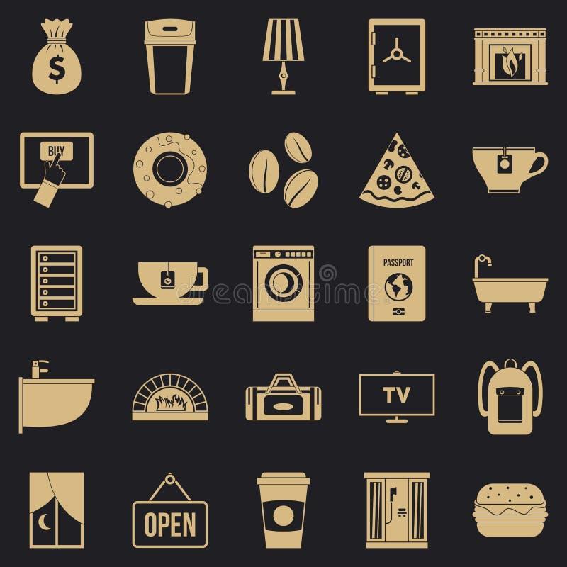 Icônes de maison de vacances réglées, style simple illustration stock