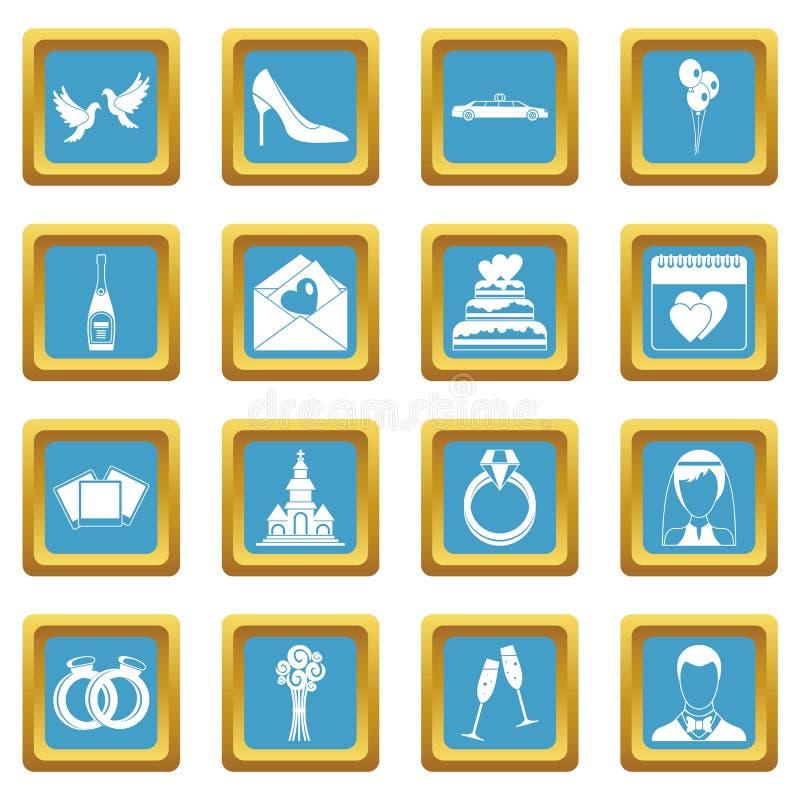 Icônes de mariage azurées illustration libre de droits
