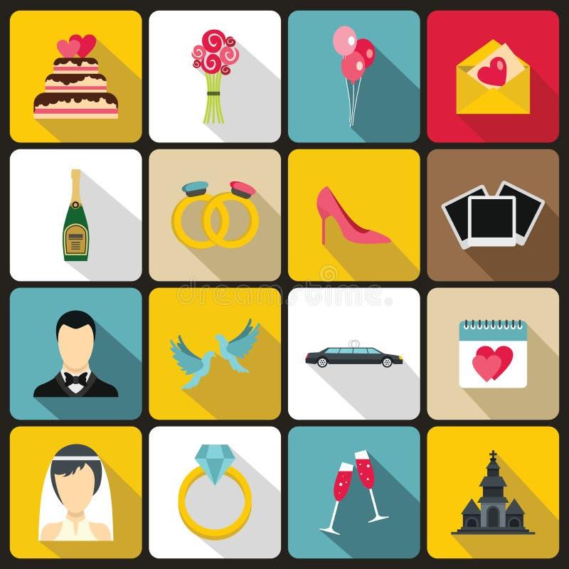 Icônes de mariage réglées, style plat illustration de vecteur