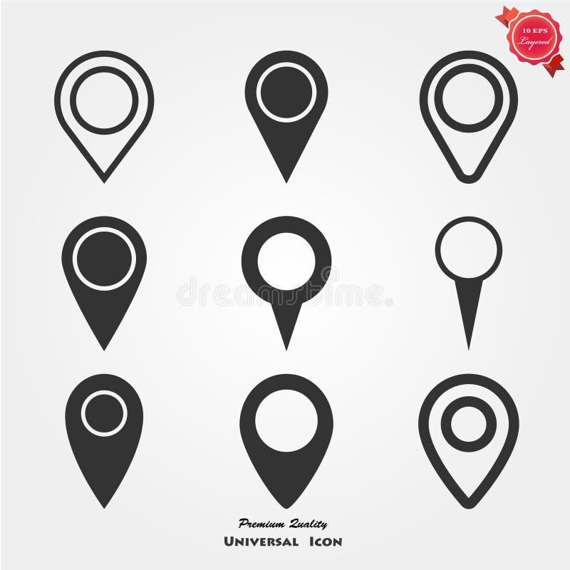 Icônes de marqueur de carte illustration de vecteur
