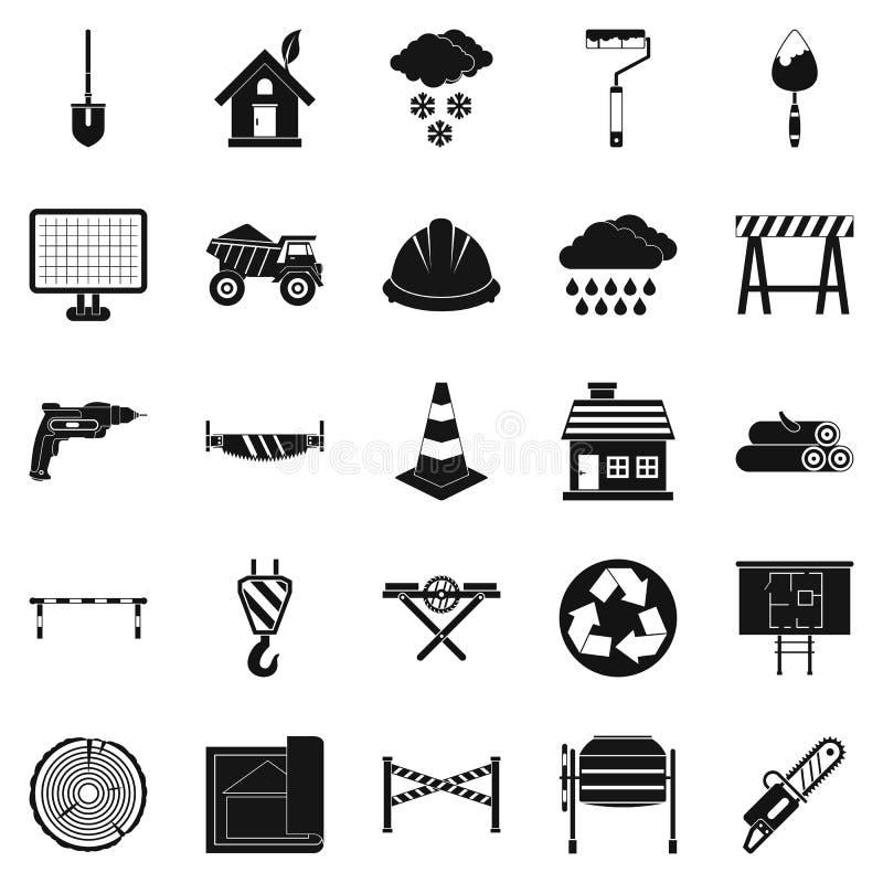 Icônes de matériau de construction réglées, style simple illustration de vecteur