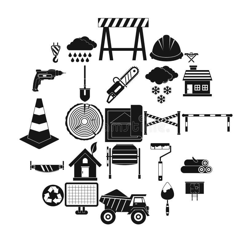 Icônes de matériau de construction réglées, style simple illustration stock