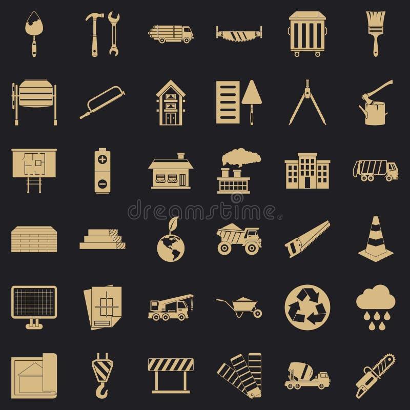 Icônes de matériau de construction réglées, style simple illustration libre de droits