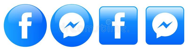 Icônes de messager de Facebook sur le blanc illustration libre de droits