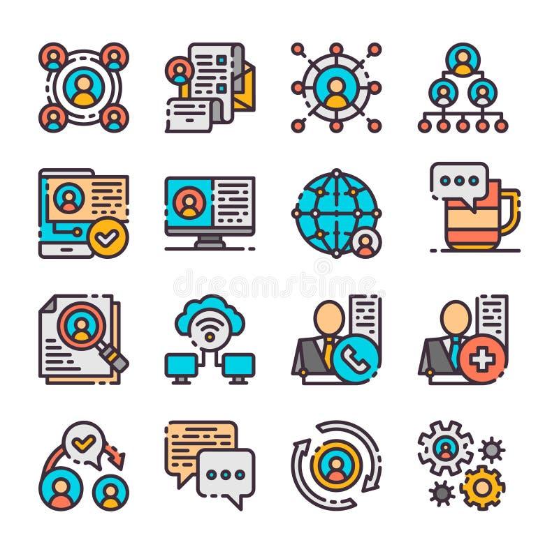 16 icônes de mise en réseau de vecteur réglées Illustration de vecteur illustration de vecteur