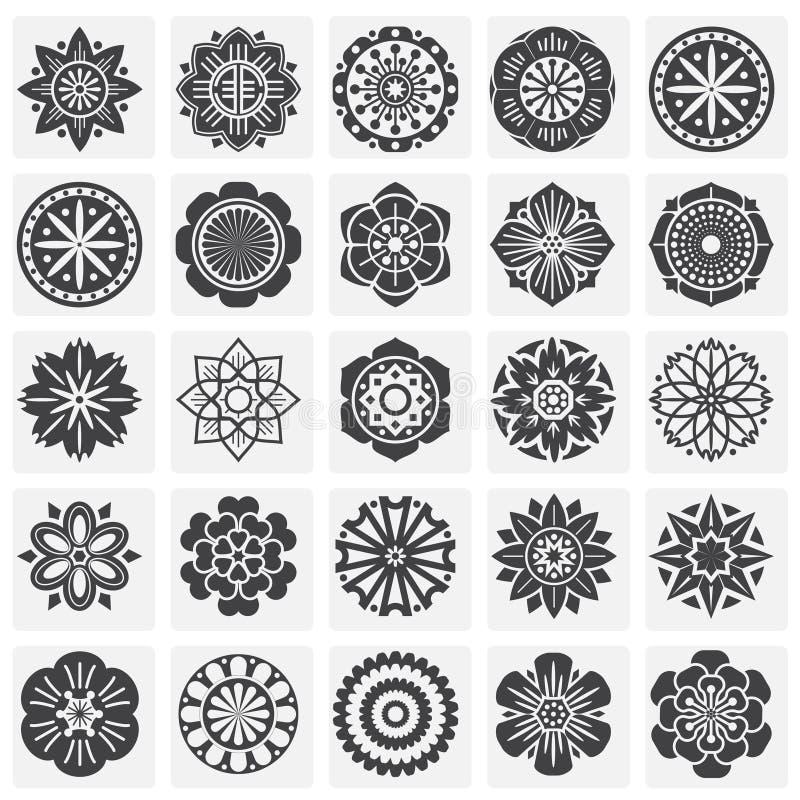 Icônes de modèle de fleur réglées sur le fond pour le graphique et la conception web Illustration simple Symbole de concept d'Int illustration stock