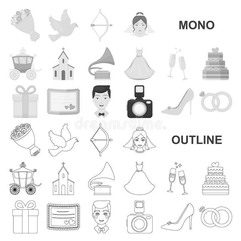 Icônes de monochrom de mariage et d'attributs dans la collection réglée pour la conception Web d'actions de symbole de vecteur de illustration libre de droits